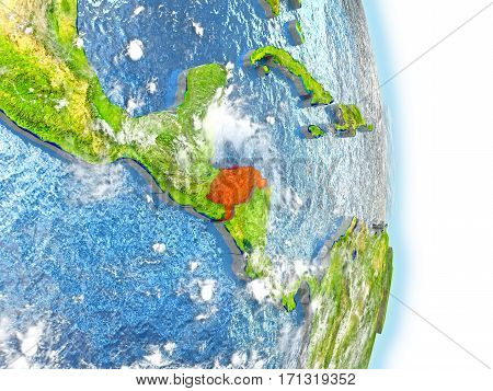 Honduras In Red On Earth