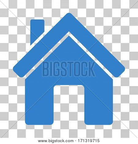 House icon. Vector illustration style is flat iconic symbol cobalt color transparent background. Designed for web and software interfaces.