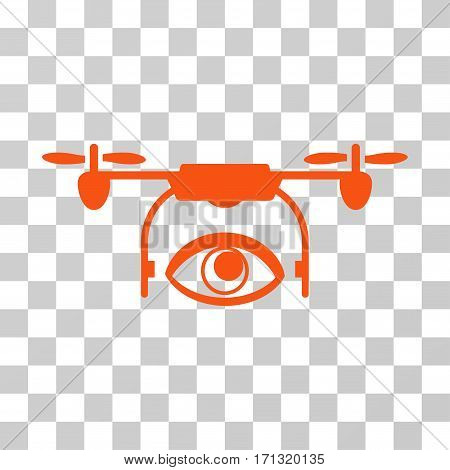 Eye Spy Drone icon. Vector illustration style is flat iconic symbol orange color transparent background. Designed for web and software interfaces.