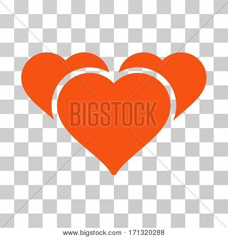 Favourite Hearts icon. Vector illustration style is flat iconic symbol orange color transparent background. Designed for web and software interfaces.