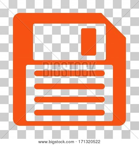 Floppy icon. Vector illustration style is flat iconic symbol orange color transparent background. Designed for web and software interfaces.