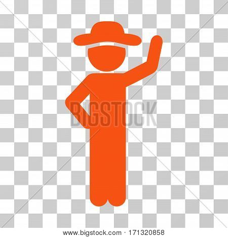 Gentleman Assurance icon. Vector illustration style is flat iconic symbol orange color transparent background. Designed for web and software interfaces.