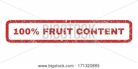 100 Percent Fruit Content text rubber seal stamp watermark. Tag inside rectangular banner with grunge design and unclean texture. Horizontal vector red ink emblem on a white background.