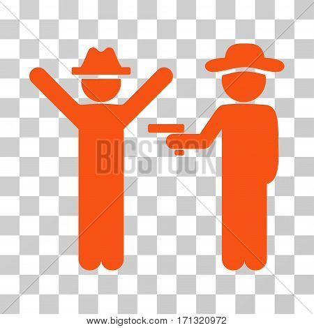 Gentleman Crime icon. Vector illustration style is flat iconic symbol orange color transparent background. Designed for web and software interfaces.