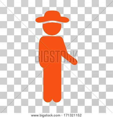 Gentleman Idler icon. Vector illustration style is flat iconic symbol orange color transparent background. Designed for web and software interfaces.