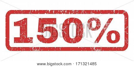 150 Percent text rubber seal stamp watermark. Caption inside rectangular shape with grunge design and unclean texture. Horizontal vector red ink emblem on a white background.