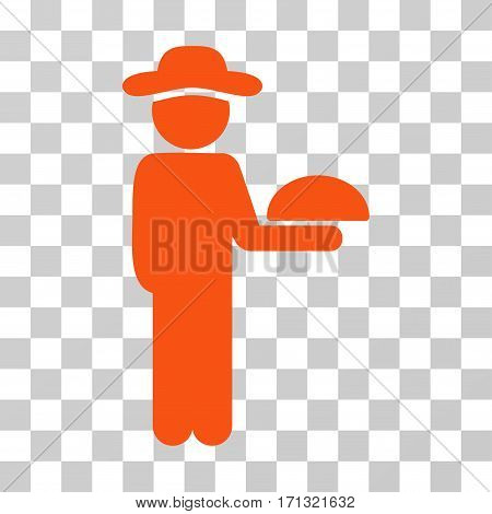 Gentleman Waiter icon. Vector illustration style is flat iconic symbol orange color transparent background. Designed for web and software interfaces.