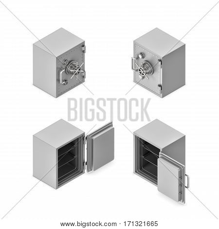 3d rendering of a metal safe box in open and closed state in double-sided isometric view. Banking and investment. Safekeeping and risk. Money loss.