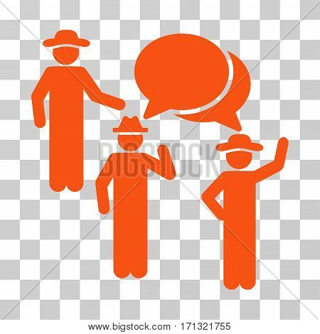 Gentlemen Discussion icon. Vector illustration style is flat iconic symbol orange color transparent background. Designed for web and software interfaces.