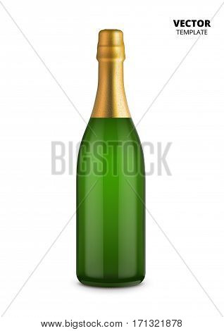 Champagne bottle glass mockup vector isolated on white background. Bottle for design presentation ads. Champagne bottle glass template. Design of vector champagne bottle. Original form bottle for design wine packaging or champagne label.