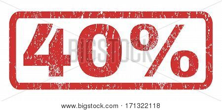 40 Percent text rubber seal stamp watermark. Tag inside rectangular banner with grunge design and dirty texture. Horizontal vector red ink sticker on a white background.