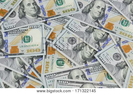 USD hundred dollar bills background for design