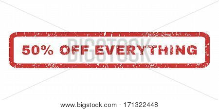50 Percent Off Everything text rubber seal stamp watermark. Tag inside rectangular shape with grunge design and scratched texture. Horizontal vector red ink sign on a white background.