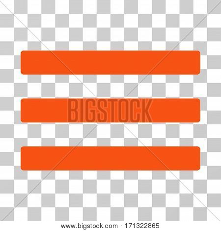 Menu icon. Vector illustration style is flat iconic symbol orange color transparent background. Designed for web and software interfaces.