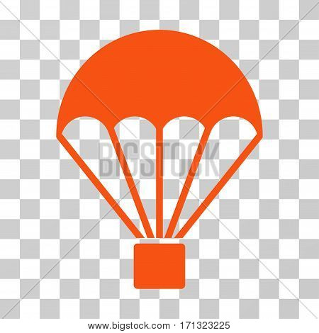 Parachute icon. Vector illustration style is flat iconic symbol orange color transparent background. Designed for web and software interfaces.