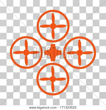 Quadcopter icon. Vector illustration style is flat iconic symbol orange color transparent background. Designed for web and software interfaces.
