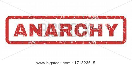 Anarchy text rubber seal stamp watermark. Caption inside rectangular shape with grunge design and dirty texture. Horizontal vector red ink sign on a white background.
