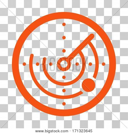 Radar icon. Vector illustration style is flat iconic symbol orange color transparent background. Designed for web and software interfaces.
