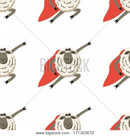 Stubborn Lamb superhero with red cloak. Vector illustration of super hero sheep seamless pattern.