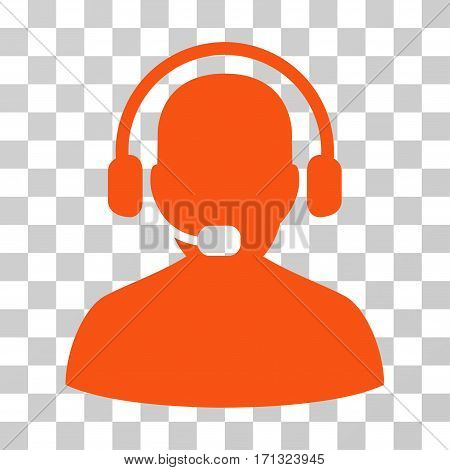Receptionist icon. Vector illustration style is flat iconic symbol orange color transparent background. Designed for web and software interfaces.