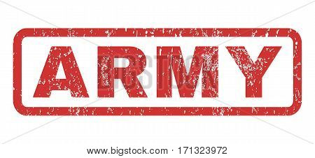 Army text rubber seal stamp watermark. Caption inside rectangular banner with grunge design and unclean texture. Horizontal vector red ink sign on a white background.