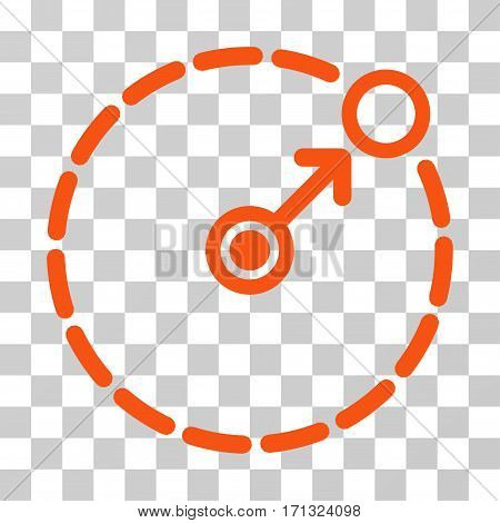 Round Area Border icon. Vector illustration style is flat iconic symbol orange color transparent background. Designed for web and software interfaces.