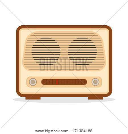 Retro radio, radio icon. Flat design, vector illustration, vector.
