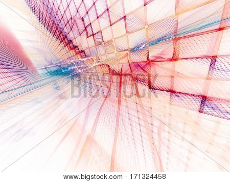 Abstract background element. Three-dimensional composition of wave shapes, grids and beams. Electronics and media concept. Red, blue yellow colors on white.