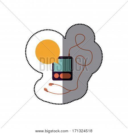 music player headphones bubble icon, vector illustration image