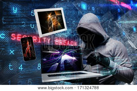 Hacker using laptop to steal identity against virus background