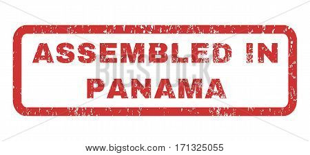 Assembled In Panama text rubber seal stamp watermark. Caption inside rectangular shape with grunge design and dust texture. Horizontal vector red ink sign on a white background.