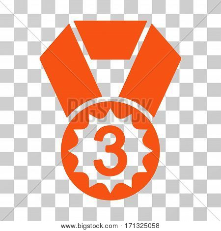 Third Place icon. Vector illustration style is flat iconic symbol orange color transparent background. Designed for web and software interfaces.