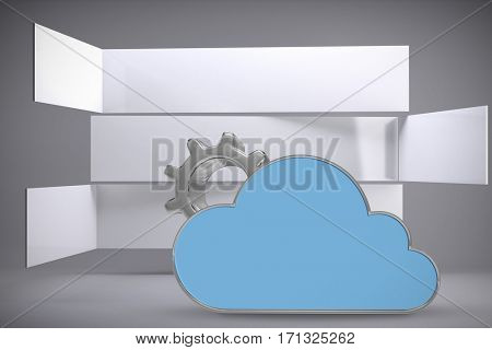 Digitally generated image of gear by cloud shape against abstract room 3d