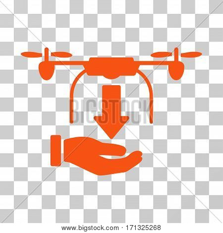 Unload Drone Hand icon. Vector illustration style is flat iconic symbol orange color transparent background. Designed for web and software interfaces.