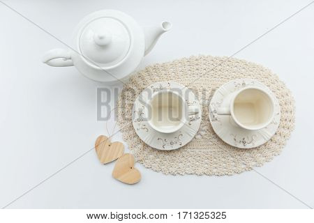 Tea For Two. Two White Cups Of Tea With Two Hearts And Kettle.
