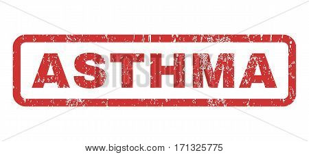 Asthma text rubber seal stamp watermark. Caption inside rectangular shape with grunge design and unclean texture. Horizontal vector red ink sticker on a white background.