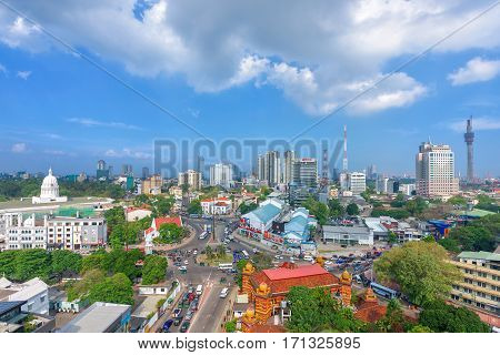 COLOMBO SRI LANKA - MARCH 24 2016: Top view of Colombo city and traffic jam in city center on March 24 2016 in Colombo Sri Lanka. Colombo is prime business and office space of Sri Lanka.
