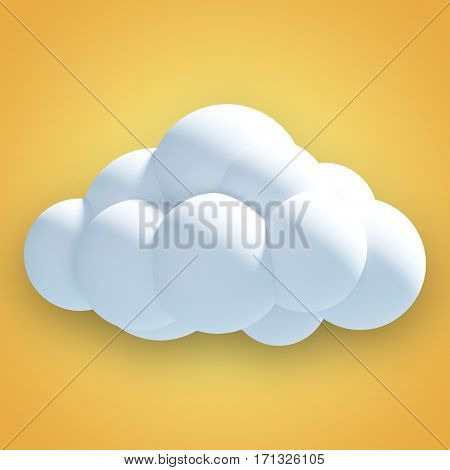 Digitally generated image of cloud against yellow vignette 3d