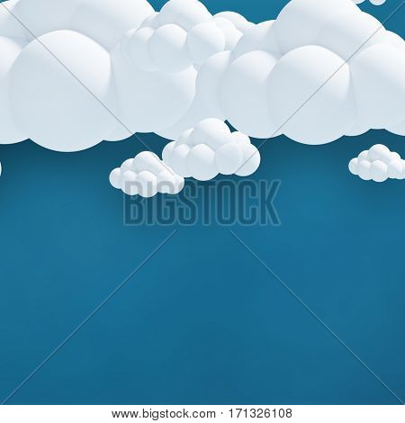 Digitally generated image of clouds against blue background 3d