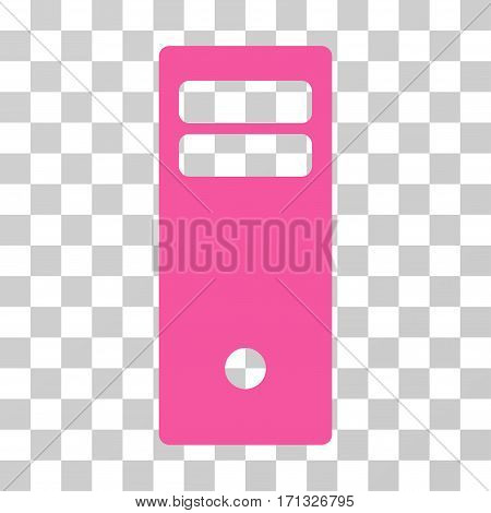 Computer Mainframe icon. Vector illustration style is flat iconic symbol pink color transparent background. Designed for web and software interfaces.