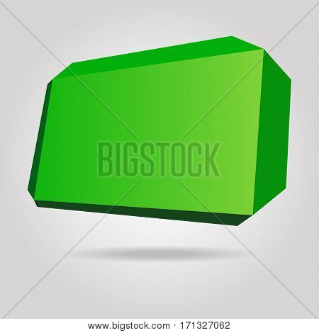 Abstract green origami speech bubble vector background.