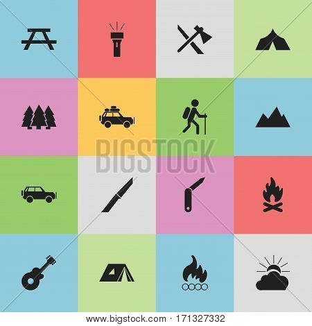 Set Of 16 Editable Trip Icons. Includes Symbols Such As Fever, Desk, Voyage Car And More. Can Be Used For Web, Mobile, UI And Infographic Design.