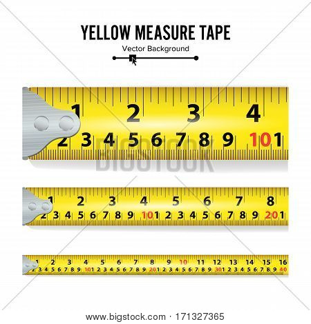 Yellow Measure Tape Vector Illustration. Measure Tool Equipment In Inches. Several Variants, Proportional Scaled.