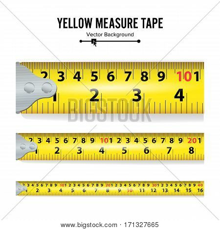 Yellow Measure Tape Vector Illustration. Measure Tool Equipment In Centimeters. Several Variants, Proportional Scaled.