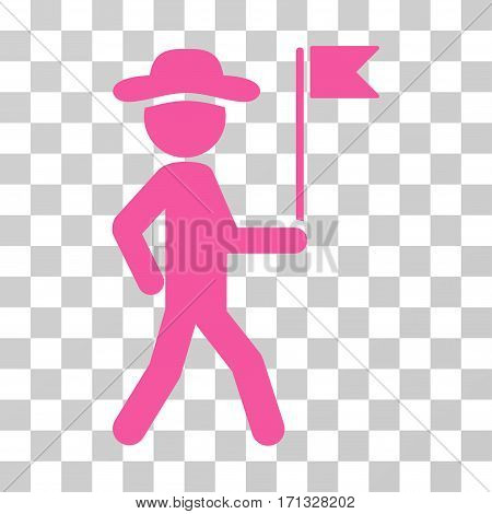 Gentleman Flag Guide icon. Vector illustration style is flat iconic symbol pink color transparent background. Designed for web and software interfaces.