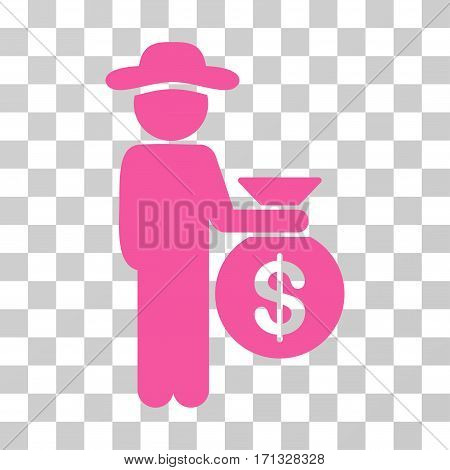 Gentleman Investor icon. Vector illustration style is flat iconic symbol pink color transparent background. Designed for web and software interfaces.