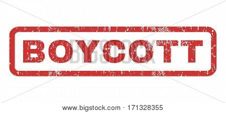 Boycott text rubber seal stamp watermark. Caption inside rectangular shape with grunge design and dust texture. Horizontal vector red ink sign on a white background.
