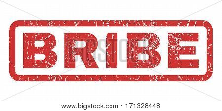 Bribe text rubber seal stamp watermark. Caption inside rectangular shape with grunge design and dirty texture. Horizontal vector red ink sticker on a white background.
