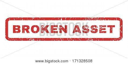Broken Asset text rubber seal stamp watermark. Tag inside rectangular banner with grunge design and unclean texture. Horizontal vector red ink sign on a white background.