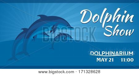 Dolphinarium. Dolphin Show. Banner. Ticket. Vector Flat Illustration.